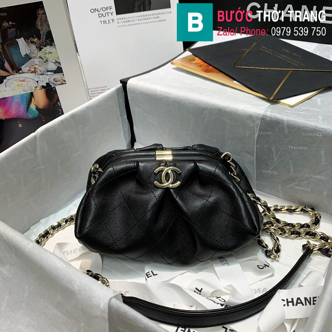Túi xách Chanel Supple Leather Clutch with chain (1)