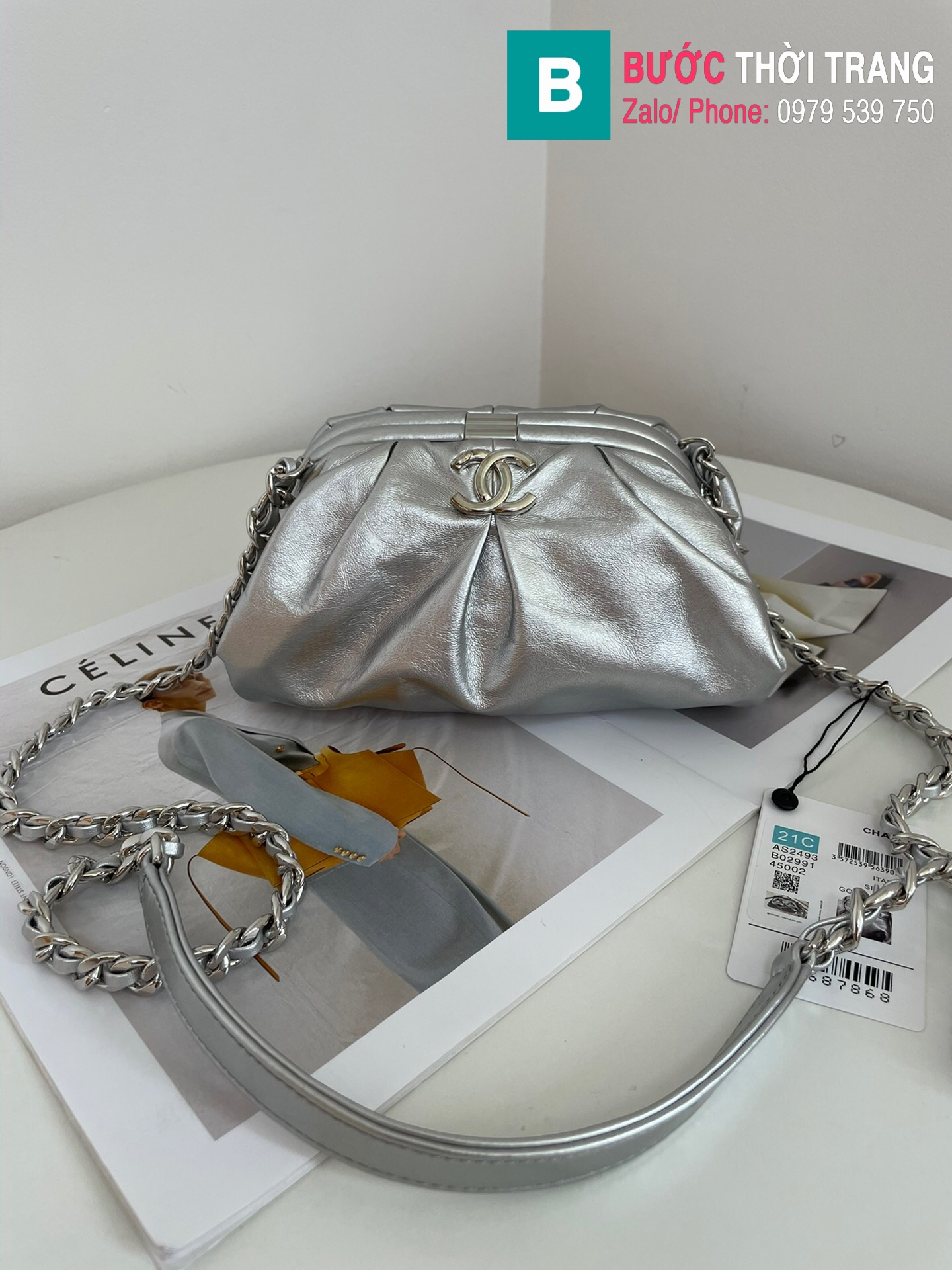 Túi xách Chanel Supple Leather Clutch with chain (10)